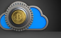 3d bitcoin safe bitcoin safe. 3d illustration of cloud with bitcoin safe over black background Royalty Free Stock Photo