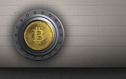 3d bitcoin safe bitcoin safe. 3d illustration of bitcoin safe  over iron wall background Royalty Free Stock Photos