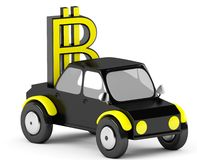 3D Bitcoin sign in a black car. On a white background Stock Photos