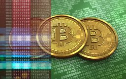 3d bitcoin stack. 3d illustration of bitcoin over green binary background with stack Stock Photo