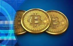 3d bitcoin sterta Obraz Stock