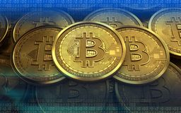 3d bitcoin sterta Zdjęcie Stock