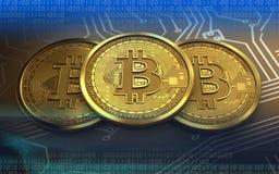 3d bitcoin sterta royalty ilustracja