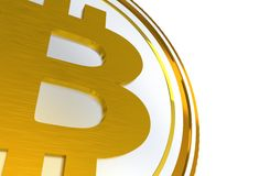 3D Bitcoin Symbol. Illustration  on White Background Royalty Free Stock Photo