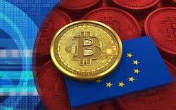3d bitcoin UE zaznacza Obrazy Stock