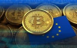 3d bitcoin UE zaznacza Obrazy Royalty Free