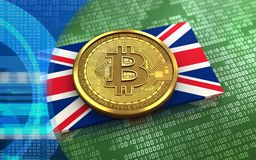 3d bitcoin UK flag. 3d illustration of bitcoin over green binary background with UK flag Royalty Free Stock Image