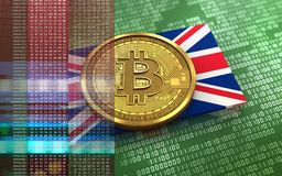 3d bitcoin UK flag. 3d illustration of bitcoin over green binary background with UK flag Royalty Free Stock Photography