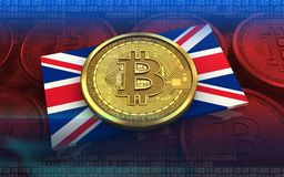3d bitcoin UK flag Stock Image