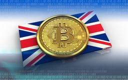3d bitcoin UK flag. 3d illustration of bitcoin over white background with UK flag Royalty Free Stock Photos