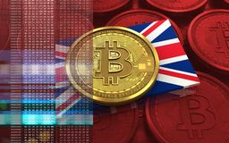 3d bitcoin UK flaga Zdjęcia Stock