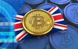 3d bitcoin UK flaga Zdjęcia Stock