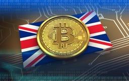 3d bitcoin UK flaga Fotografia Royalty Free
