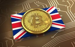3d bitcoin UK flaga Obrazy Stock