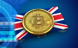 3d bitcoin UK flaga Fotografia Royalty Free