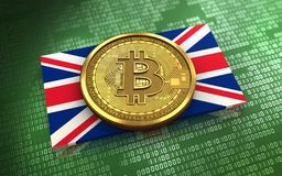 3d bitcoin UK flaga Zdjęcie Stock