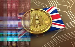 3d bitcoin UK flaga Obraz Stock