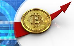3d bitcoin up arrow Royalty Free Stock Photo