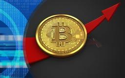 3d bitcoin up arrow Stock Image