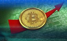 3d bitcoin up arrow. 3d illustration of bitcoin over green binary background with up arrow Stock Images