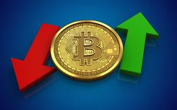 3d bitcoin up and down arrows. 3d illustration of bitcoin over blue background with up and down arrows Stock Photography