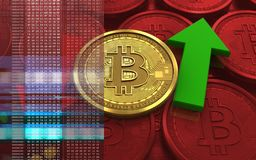 3d bitcoin up and down arrows. 3d illustration of bitcoin over red coins background with up and down arrows Royalty Free Stock Image