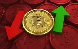 3d bitcoin up and down arrows. 3d illustration of bitcoin over red coins background with up and down arrows Stock Image