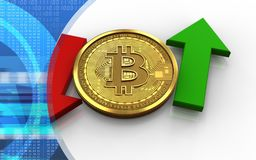 3d bitcoin up and down arrows. 3d illustration of bitcoin over white background with up and down arrows Royalty Free Stock Photography