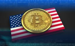 3d bitcoin USA flag. 3d illustration of bitcoin over black background with USA flag Royalty Free Stock Photography