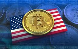 3d bitcoin USA flag. 3d illustration of bitcoin over blue coins background with USA flag Stock Photo
