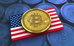 3d bitcoin USA flag. 3d illustration of bitcoin over blue coins background with USA flag Stock Photography