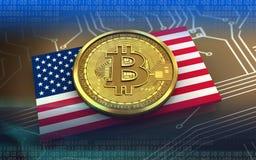 3d bitcoin USA flag. 3d illustration of bitcoin over circuit background with USA flag Stock Photo