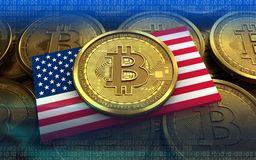 3d bitcoin USA flag. 3d illustration of bitcoin over coins stacks background with USA flag Stock Image