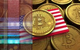 3d bitcoin USA flag. 3d illustration of bitcoin over coins stacks background with USA flag Stock Photo