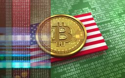 3d bitcoin USA flag. 3d illustration of bitcoin over green binary background with USA flag Royalty Free Stock Photo