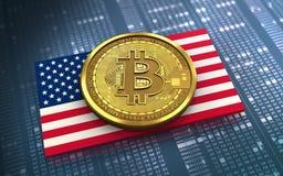 3d bitcoin USA flag. 3d illustration of bitcoin over hexadecimal background with USA flag Stock Image
