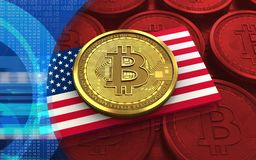 3d bitcoin USA flag Stock Image
