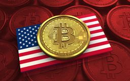 3d bitcoin USA flag. 3d illustration of bitcoin over red coins background with USA flag Royalty Free Stock Photos