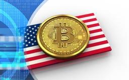3d bitcoin usa flaga royalty ilustracja