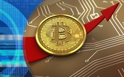 3d bitcoin w górę strzała royalty ilustracja