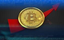 3d bitcoin w górę strzała ilustracja wektor
