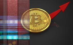 3d bitcoin w górę strzała ilustracji