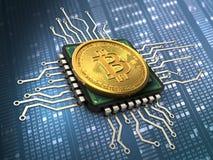 3d bitcoin z jednostką centralną Obraz Stock