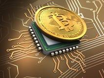 3d bitcoin z jednostką centralną Zdjęcia Stock