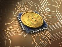 3d bitcoin z jednostką centralną Obrazy Royalty Free
