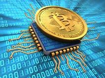 3d bitcoin z jednostką centralną ilustracji