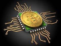 3d bitcoin z jednostką centralną Obrazy Stock
