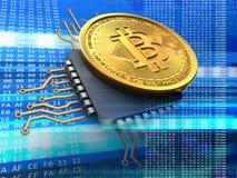 3d bitcoin z jednostki centralnej błękitem Fotografia Royalty Free