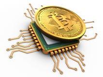 3d bitcoin z jednostki centralnej złotem Obrazy Royalty Free