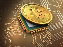 3d bitcoin z jednostki centralnej złotem Zdjęcie Stock